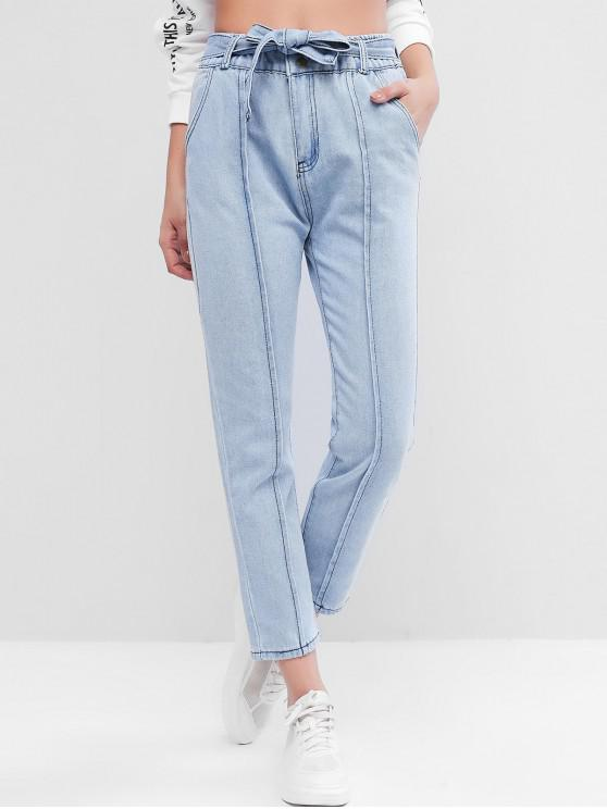 chic High Waisted Pocket Belted Pencil Jeans - JEANS BLUE S