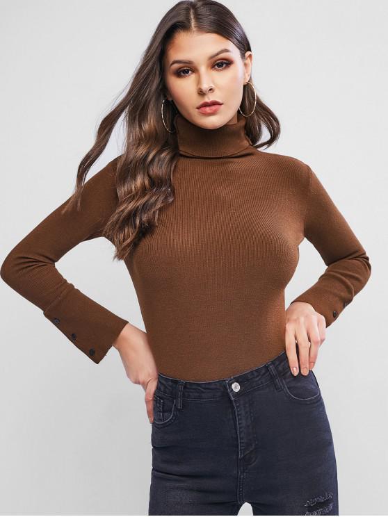 Jersey de cuello alto y manga corta con botones - Café Talla única