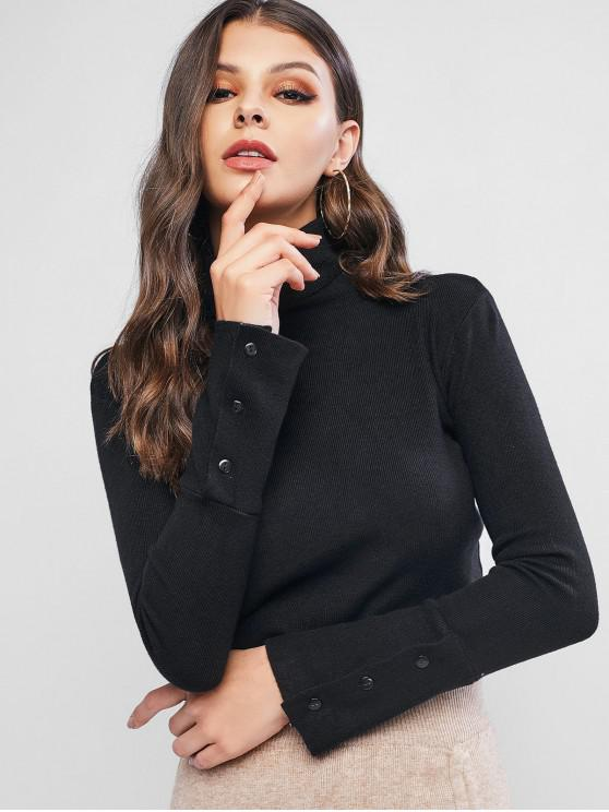 outfits Turtleneck Slim Buttoned Cuff Sweater - BLACK ONE SIZE