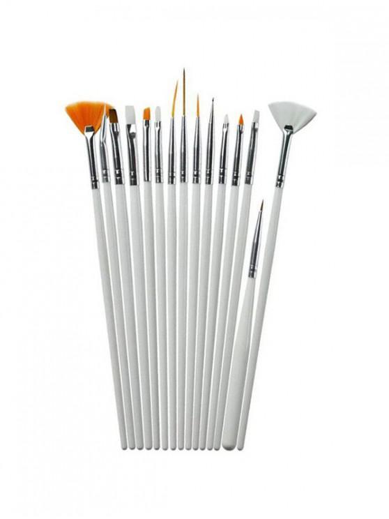 Pinceau de Beauté à Ongles 15 Pièces - Blanc