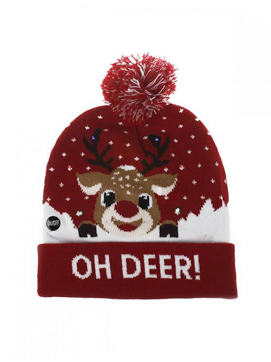Chapeau d'Hiver de Noël Tricoté Dessin Animal Imprimé - Rouge