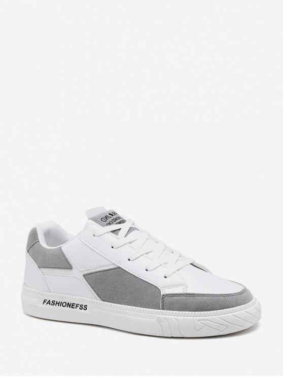 Geométricos Zapatos Patch baja superior plana - Blanco EU 42