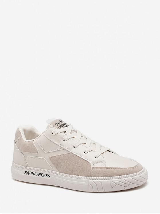 shops Geometric Patch Low Top Flat Shoes - BEIGE EU 41