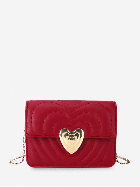 Corazón hebilla acolchada cadena del bolso de Crossbody - Vino Tinto