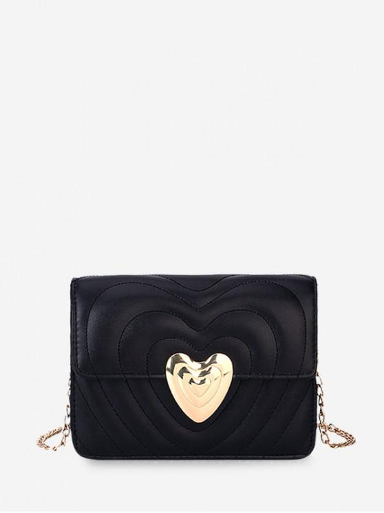 outfit Heart Buckle Quilted Chain Crossbody Bag - BLACK