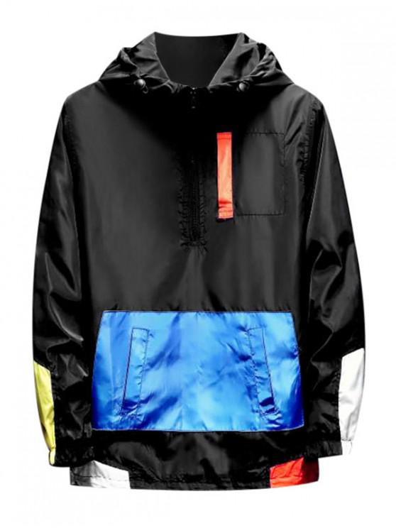 unique Color Spliced Zipper Decorated Hooded Jacket - BLACK XL