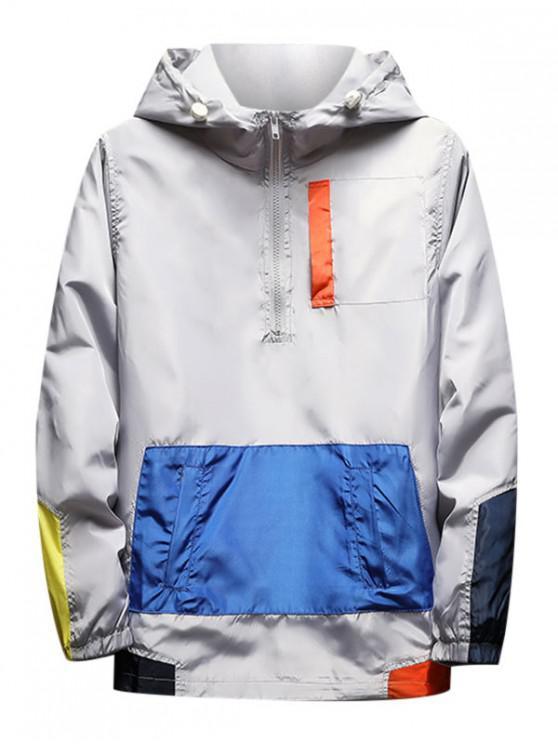 Color de la camisa empalmado cremallera decorado con capucha - Gris M