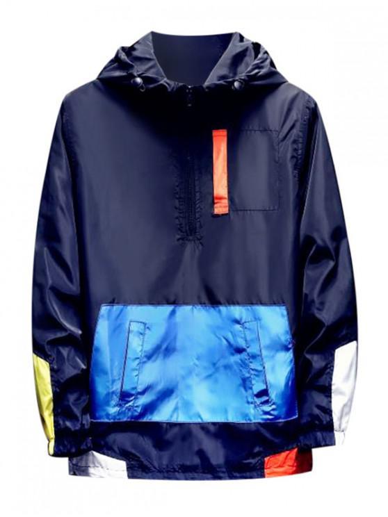Color de la camisa empalmado cremallera decorado con capucha - Cadetblue XS
