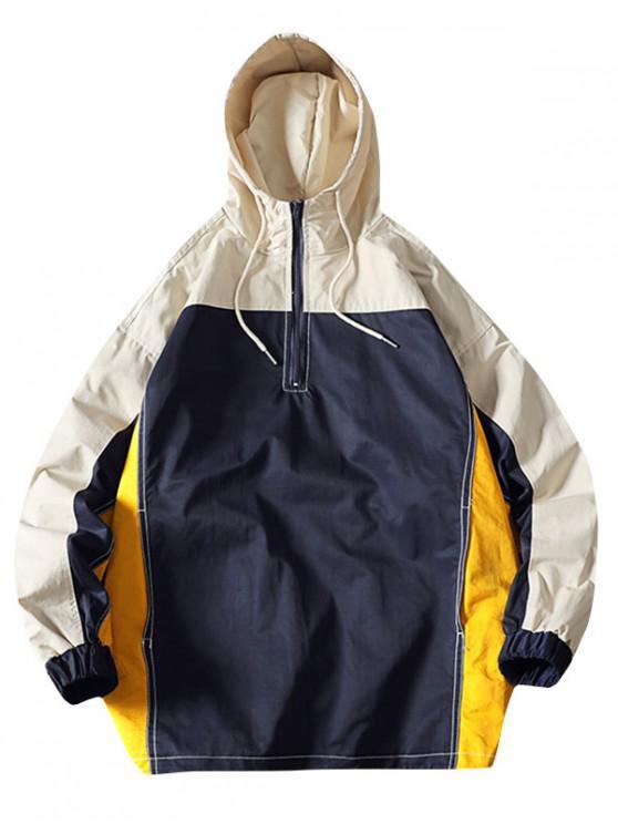 trendy Color Blocking Splicing Half-zip Hooded Jacket - MULTI L