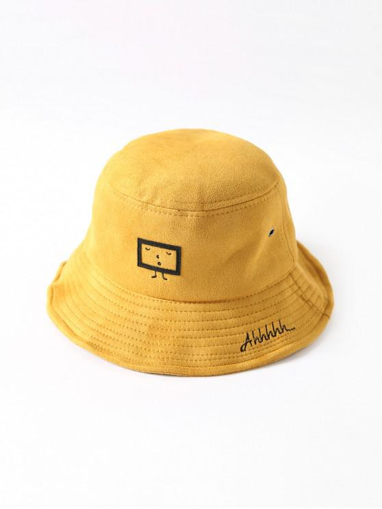 outfit Embroidered Cartoon Print Bucket Hat - YELLOW