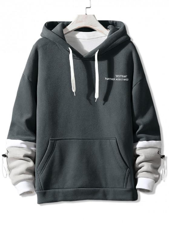 latest Letter Print Colorblock Spliced Drawstring Fleece Hoodie - GRAY XS