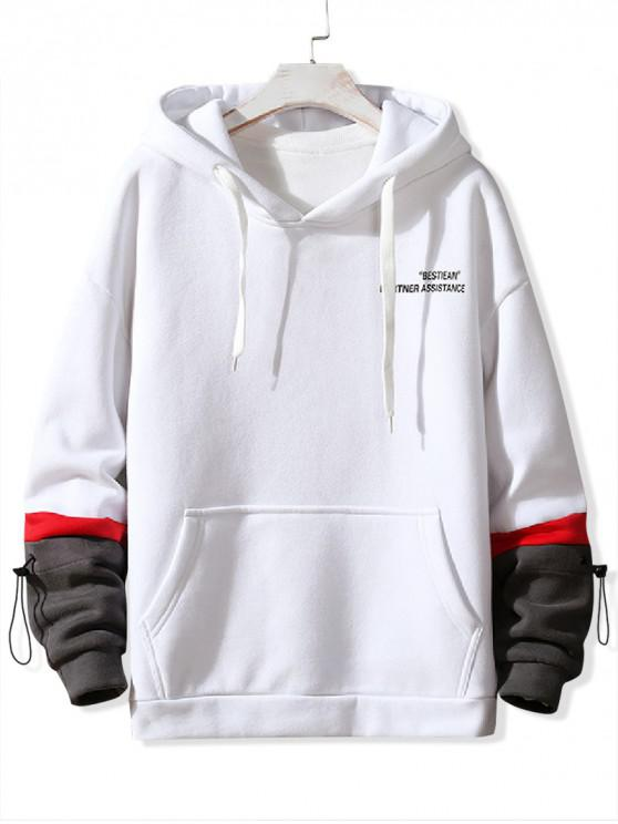 outfit Letter Print Colorblock Spliced Drawstring Fleece Hoodie - WHITE XS