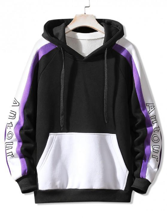 online Letter Print Colorblock Spliced Raglan Sleeve Fleece Hoodie - BLACK XS