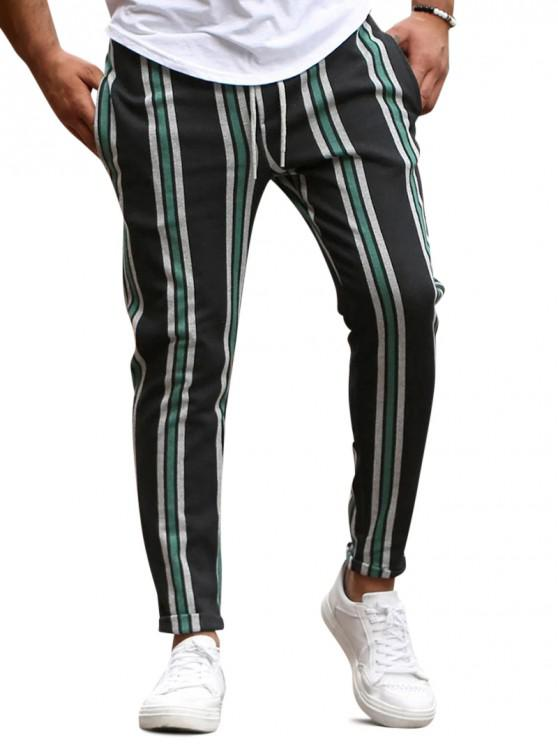 new Vertical Striped Lounge Pencil Pants - GREEN XS