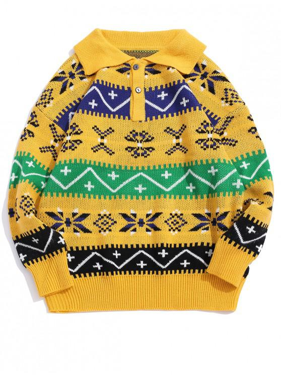 unique Geometric Pattern Turn-down Collar Sweater - YELLOW L