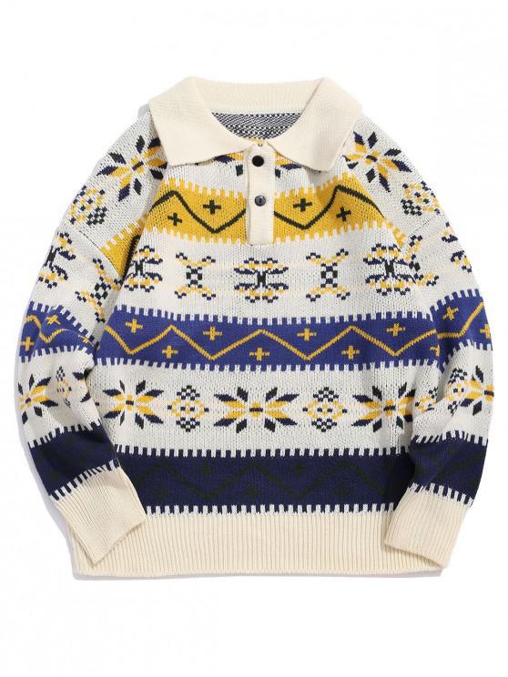 buy Geometric Pattern Long-sleeved Sweater - BEIGE M