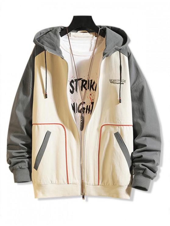 fashion Graphic Printed Color Spliced Zip Up Jacket - BEIGE 3XL