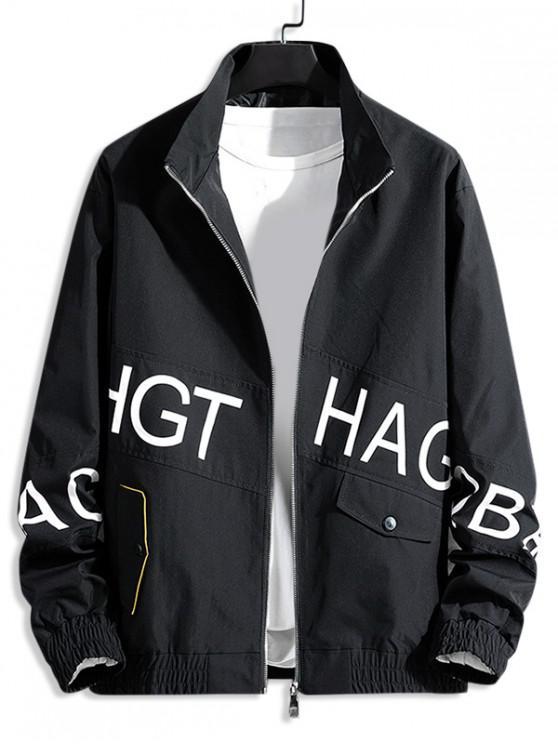 fancy Letter Graphic Print Zip Up Casual Jacket - BLACK M
