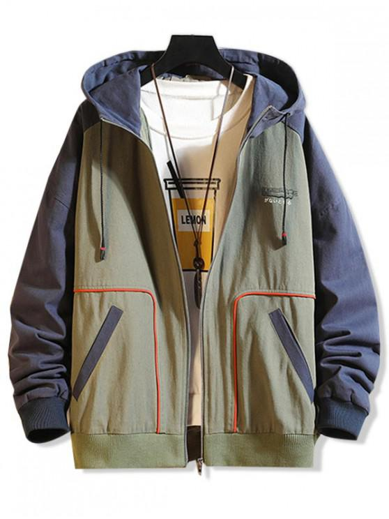 affordable Graphic Printed Color Spliced Zip Up Jacket - ARMY GREEN L