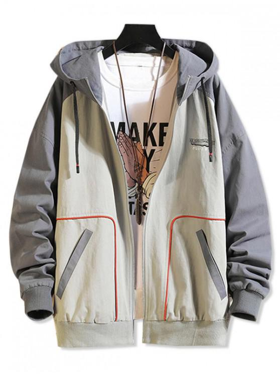 buy Graphic Printed Color Spliced Zip Up Jacket - LIGHT GRAY L