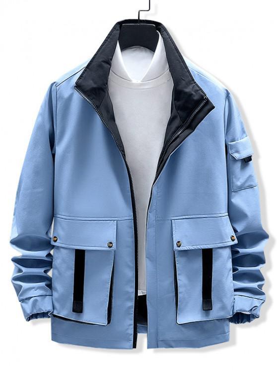 lady Flap Pockets Zip Up Cargo Jacket - BLUE XS