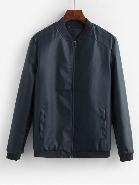 Sólido bolsillo de la chaqueta decorada en color - Azul Mármol L