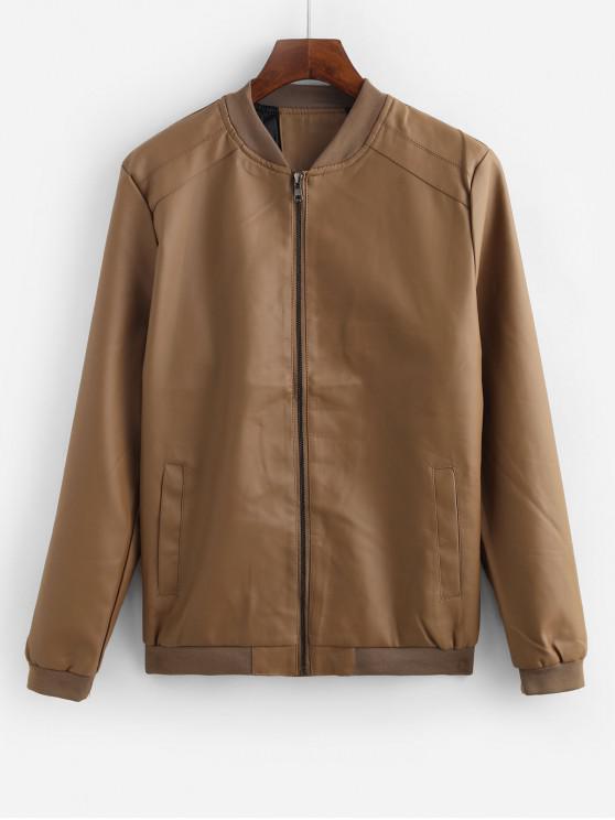 Sólido bolsillo de la chaqueta decorada en color - Caqui L