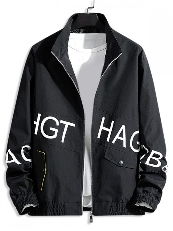shops Letter Graphic Print Zip Up Casual Jacket - BLACK S