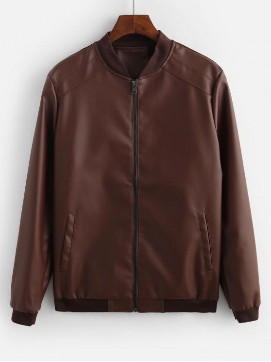 Sólido bolsillo de la chaqueta decorada en color - Café M