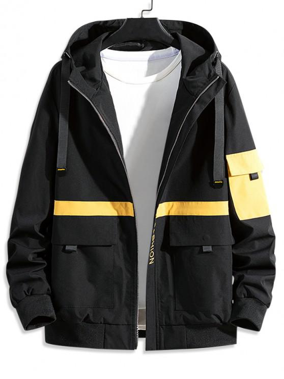 new Colorblock Spliced Letter Graphic Hooded Cargo Jacket - BLACK XS