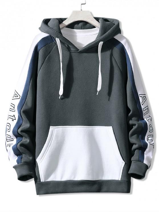shops Letter Print Colorblock Spliced Raglan Sleeve Fleece Hoodie - GRAY XS