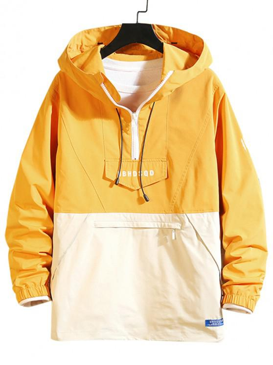 latest Letter Zipper Decoration Long-sleeved Hoodie - YELLOW L
