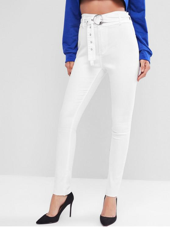 best High Waisted Belted Tapered Jeans - WHITE S