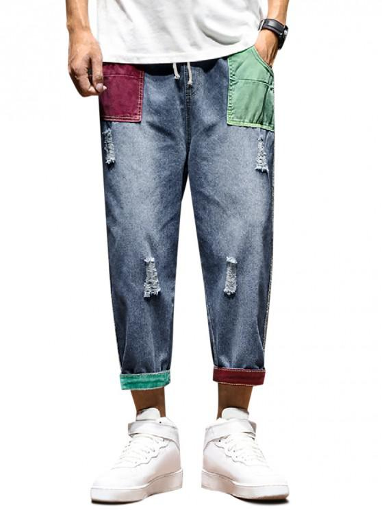 affordable Distressed Colorblock Patchwork Pocket Drawstring Ripped Jeans - BLUE S