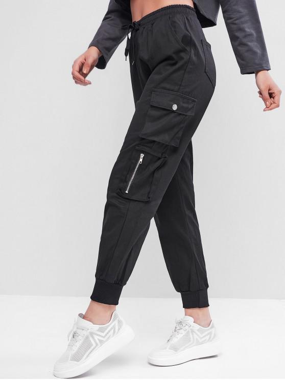 shops Drawstring Pockets Zippers Jogger Cargo Pants - BLACK L