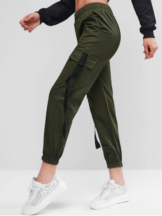 trendy Pockets Buckle Jogger Cargo Pants - ARMY GREEN 2XL