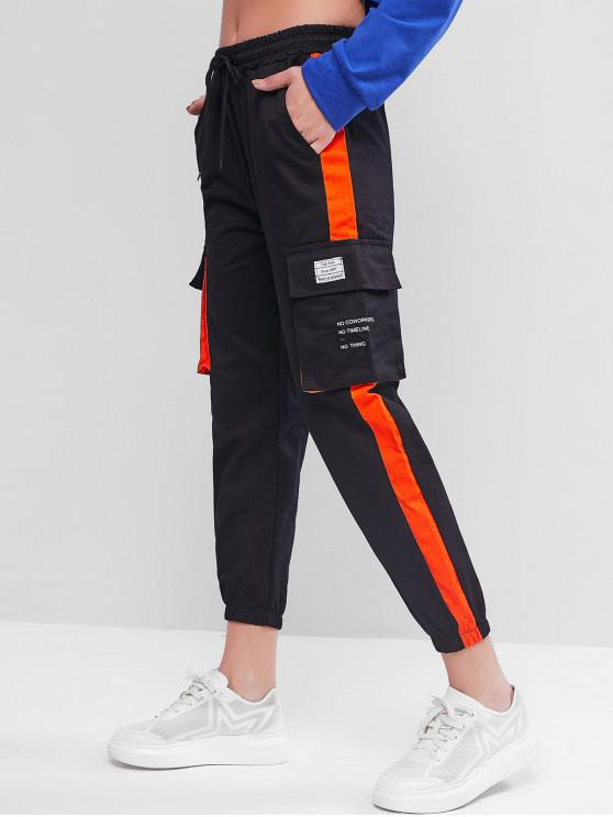 unique Stripe Trim Letter Jogger Cargo Pants - BLACK 2XL