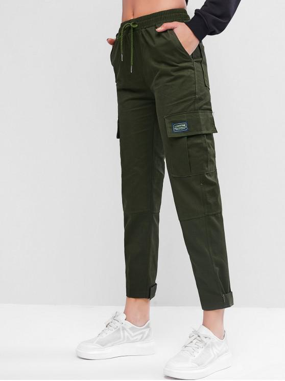 ladies Drawstring Pockets Cargo Ninth Pants - ARMY GREEN M