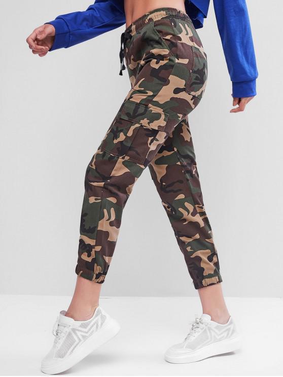 Jogger Pantalones de Estampado de Camuflaje de Cordón - ACU Camuflaje M