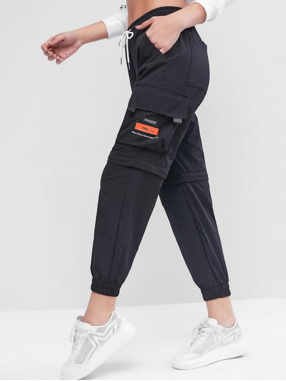 fashion Drawstring Letter Cargo Jogger Pants - BLACK S