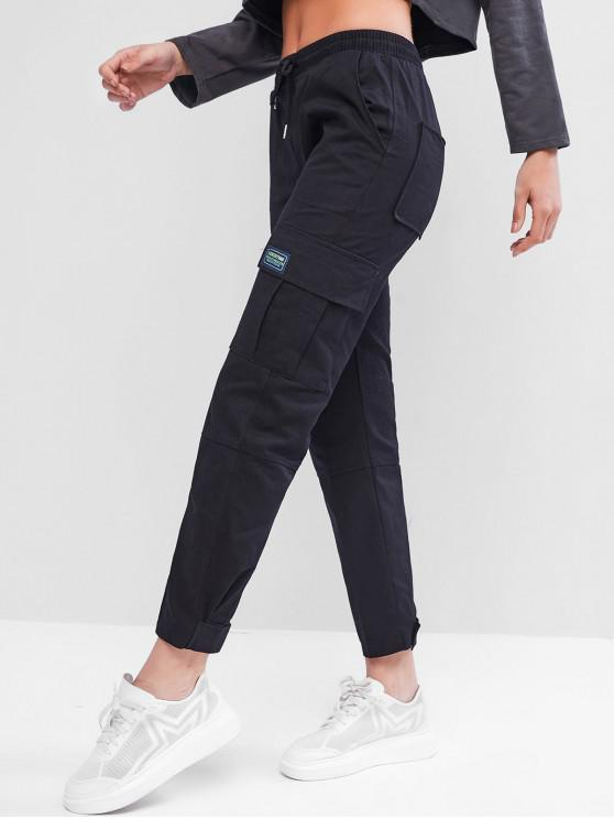 fancy Drawstring Pockets Cargo Ninth Pants - BLACK M