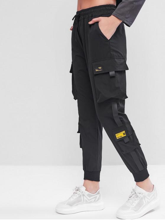 unique Drawstring Patched Jogger Cargo Pants - BLACK XL