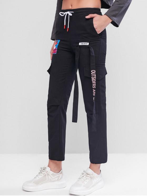 Cordón bolsillo lateral atado lápiz de los pantalones - Negro 2XL