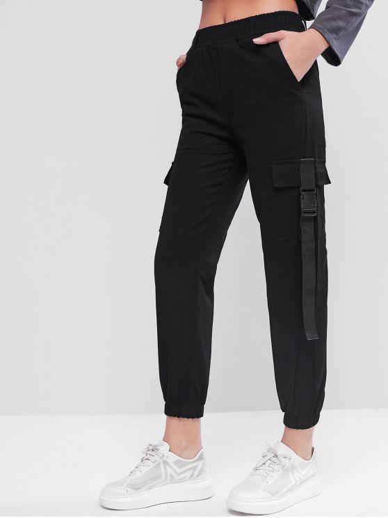 womens Pockets Buckle Jogger Cargo Pants - BLACK XL