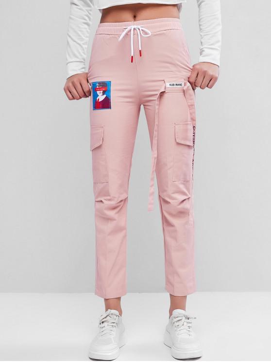 Cordón bolsillo lateral atado lápiz de los pantalones - Rosado 2XL
