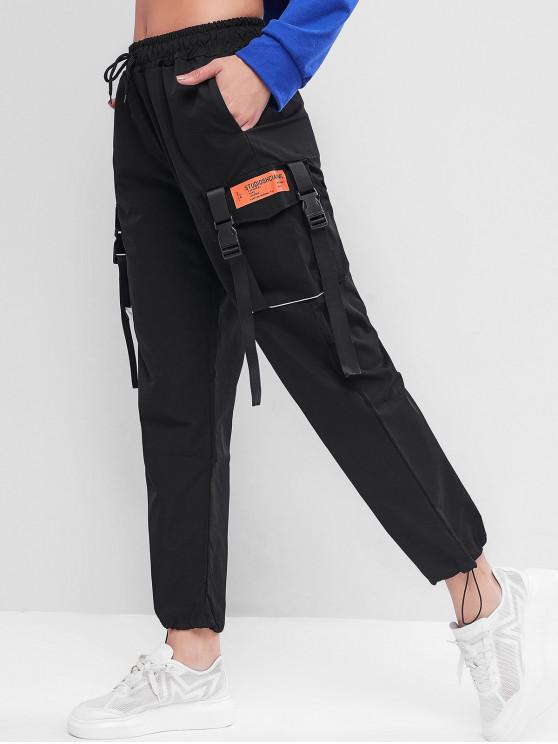 Pantalones de cordón de la hebilla del basculador de Carga - Negro XL
