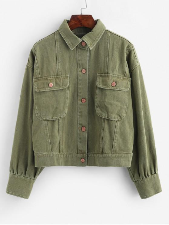 trendy Button Up Solid Jacket with Pockets - ARMY GREEN L