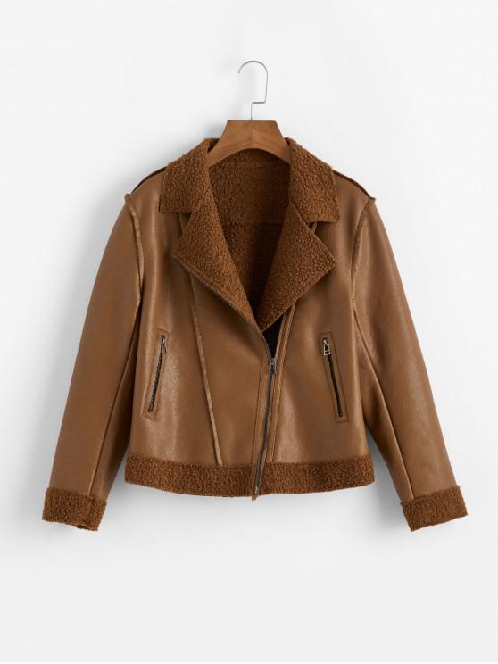 shop Zippered Pockets PU Leather Zip Front Biker Jacket - BROWN XS