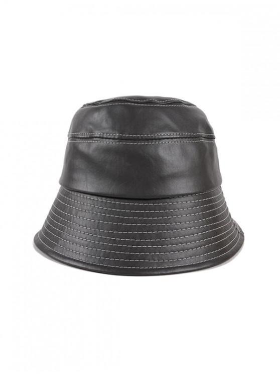 lady Winter Bucket Leather Hat - DARK GRAY