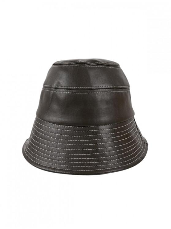 affordable Winter Bucket Leather Hat - TAUPE